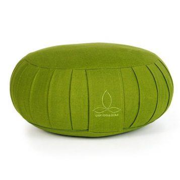 ökologisches Yogakissen Zafu in grün